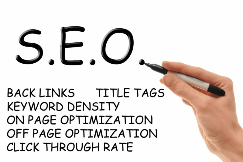 Hand holding a marker writing down the essentials of Search Engine Optimization, also known as SEO and S.E.O.